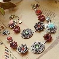 Free shipping (Min order $10)   bohemia multi-element flower gem rose sparkling  bracelet female C0083