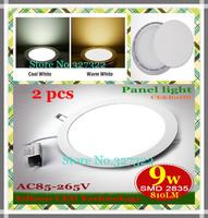 Free shipping 2 pcs/lot round LED Panel Light 9W AC85-265V 810Lumen EPILEDS smd 2835 lamp bulb led ceiling light warm/cool white
