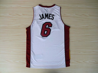#6 Lebron James jerseys Basketball jersey  Miami jerseys white basket jerseys mix order free shipping