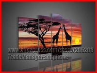 Framed 5 Panel Large African Sunset Landscape Painting Giraffe Wall Art Canas Picture Home Decorations XD01390