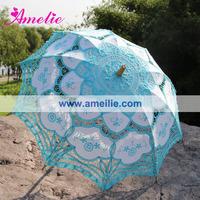 Big Promotion Free Shipping 100% handicraft cotton blue lace wedding umbrella