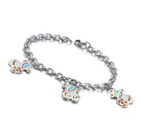 Fashion Jewelry Women's 316L Stainless Steel Lovely Colorful Little Bear Link Chain Bracelets for Girl Free Shipping