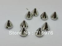 Free Shipping 500 Silver Tone Metallic Rock Punk Spike Rivet Acrylic Taper Stud Beads 6X6mm (W02146 )