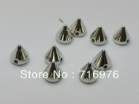 Free Shipping 300pcs silver tone Metallic Rock Punk Spike Rivet Acrylic Taper Stud Beads 8X8mm(W02149 )