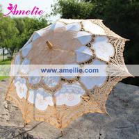 Big Promotion Free Shipping 100% handicraft cotton Yellow lace wedding parasol