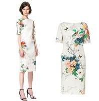 ZA** Brand Dresses New Fashion 2014 Fashion Cheongsam Peony Bird Printing Show Slim Long Elegant Dress