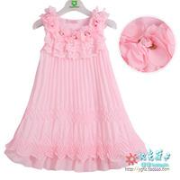 2014 female child summer chiffon one-piece dress princess dress child dress l6020 tank  (CC007)