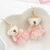 ks bijoux 18k gold filled earrings for women Pink lace cloth cartoon bear earrings e7375  Min.order $10