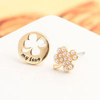 wholesale fashion earrings for women 2013 accessories Inlaying pearl four leaf clover cutout asymmetrical letter  e9074b