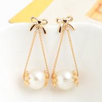 ks bijoux 18k gold filled earrings for women  brincos jewelry   cutout bow tassel pink oil flower pearl long  e9223b