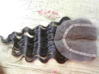 "Cheapest Bleached knots lace top closure 4x4"" swiss lace frontal closures brazilian hair deep curly #1b black color"