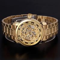 Free Shipping Mens Gold Skeleton Hand Wind Mechanical Watch, Dress for men/women Watches,Original Brand Winner
