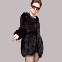 Promotion Free Shipping Genuine Knitted Mink Fur Coat  Fur Garment For Ladies Outwear Clothing