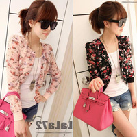 Hot Sale 2013 Fashion Womens Ladies Floral Print Casual Chiffon Small Short Coat Tops Outwear Jacket Size S Free Shipping 0115