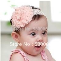 Wholesale 12pcs/lot Pink Baby Girls Big Lace Flowers Elastic Chiffon Headbands Hairband Headwear Kids Hair Band Ornaments