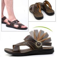 Summer mens sandals trend leather sandal  plus size casual men brown fliper hot sale genuine leather flat heel.