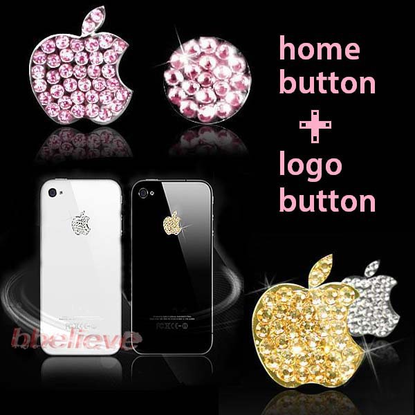 (3 sets/lot) 3 Colors Shine Luxury for iPhone 5 3/4G/4S iPod Bling Diamond Crystal Deco Home Button & Logo Sticker(China (Mainland))
