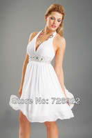 Hot Sell Cheap Custom Made Chiffon Halter Free Shipping Cocktail Dress&party dress 2013 On Sale