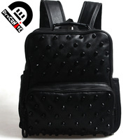 Draconite new arrival PU school bag vintage punk rivet backpack computer travel bag 122