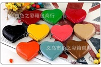 2013 Fashion lovely candy color peach heart women Wallets Ms patent leather coin pouches wholesale Embossed metal lock purse