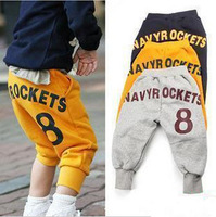 Free shipping  2013 spring 8 boys clothing girls clothing baby 9 pants trousers breeched