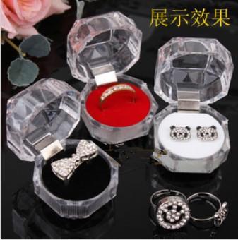 2013 Transparent Acrylic Ring Box 40x40mm Jewelry Case Ear Nail Box Free Shipping #K711D(China (Mainland))