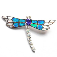 blue opal jewelry with cz stone;mexican opal pendant  Dragonfly pendant 925 stamped PS1579
