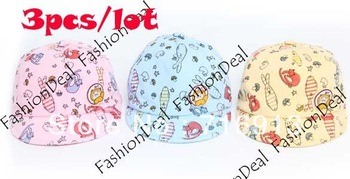 3pcs/lot 2013 New Cute Kids Hat Baby Baseball Cap Infant Lovely Cricket-cap Headwear 3 Colors Drop Shipping 16931
