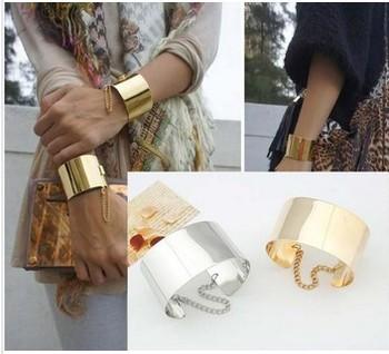 Min order is $10(mix order)Fashion jewelry Mirror Punk Rock Wide Flat Gold Tone or Silver Tone Bangle Cuff Bracelet  women SL042