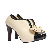 Bow japanned leather patchwork v thick high-heeled single shoes