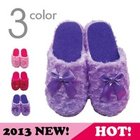 Hot-selling three-color roll plush bow women's winter home indoor slippers soft outsole cotton-padded