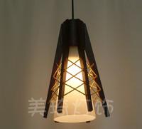 FREE SHIPPING single head wood lamp glass Pendant Lights restaurant pendant light bedroom lamp Pendant LAMP