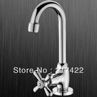 Cross Handle Brass Single Cold Kitchen Basin Faucet