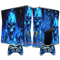 Newest Blue Fire Skull ~ Sticker Cover for X BOX 360 Slim Vinyl Decals Console and 2 Game Controller Skins Free Shipping