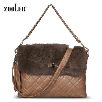 Plaid embroidery fashion chain rabbit fur leather bag women's handbag
