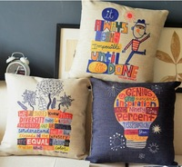 Free Shipping 45 *45cm Proverbs cute cartoon art 3pcs Linen Cotton Throw Pillows Covers Wholesale