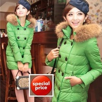 Hot Sale 2013 Faux fur Collar women's Candy colors winter warm  duck down jacket clothes