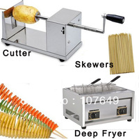 Hot Sale 3 in 1 Manual Tornado Potato Cutter + LPG Gas Deep Fryer + Bamboo Skewers for Spiral Twister Potato