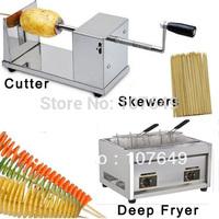 Hot Sale 3 in 1 Manual Tornado Potato Cutter + LPG Gas Deep Fryer + Bamboo Skewers for Spiral Twister Potato