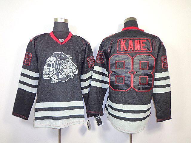 Blackhawks #88 PatrickKane Gothic Skull Hawk Black Ice Hockey Jersey Free Shipping Embroidery(China (Mainland))