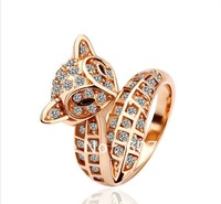 18K Gold Plated Fox Ring Health Jewelry Nickel  Austrian Crystal SWA ElementCrystal SWA Element Rose-gold