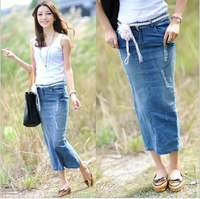 2014 autumn and summer female long denim skirt women's long jean skirt Autumn and winter hip skirt slim step