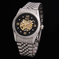 Wholesale Winner band Luxury Sport men's Automatic Skeleton Mechanical Military Watch Men Silver Steel Band Freeship