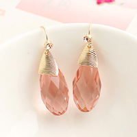 ks bijoux 18k gold filled earrings for women brincos jewelry   pink drop crystal round ball all-match  elegant  e8836b