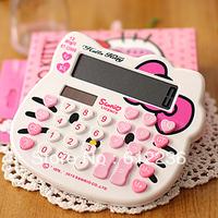 Hello Kitty Cartoon Calculator  functional solar handheld mini office LED LCD screen Display with 12 digits display