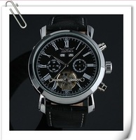New Automatic Wrist Leather Date Mechanical Auto Steel Case Men's Watch White Watch for 2013
