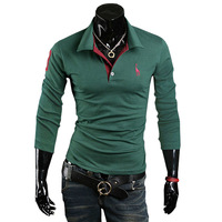 Drop Shipping! Free Shipping 2013 New Men's T-Shirts slim fit Long Sleeve shirt cotton shirts M L XL XXL