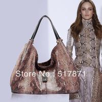 Free Shipping Leather Bags Fur Crocodile Genuine Leather Women's Totes Pattern Vintage Shoulder Famous Brand Designer Handbag