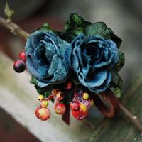 Handmade vintage blue velvet flower retro finishing berries genuine leather hairpin brooch dual