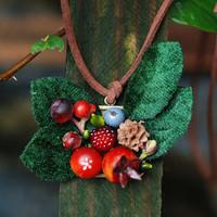Handmade berries pomegranate pinecone necklace